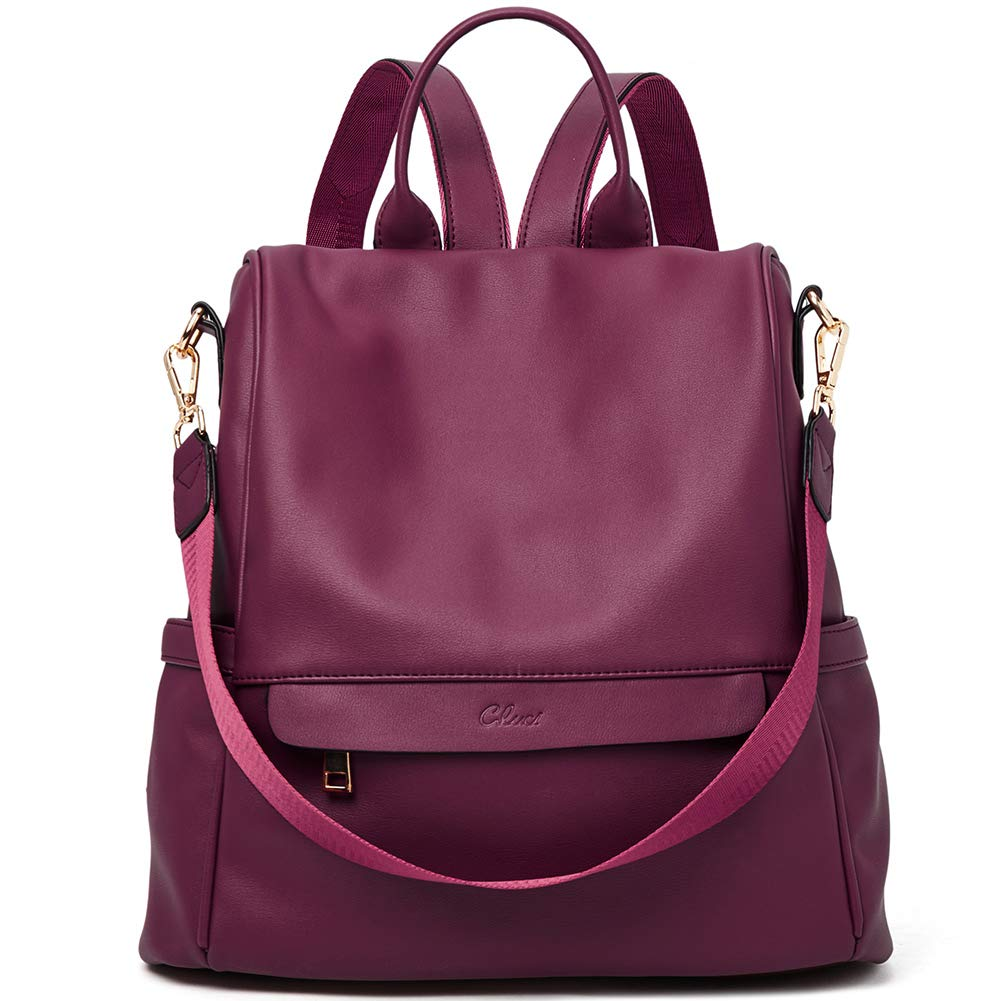 Women Backpack Purse Fashion PU Leather Anti-theft Large Travel Bag Ladies Shoulder School Bags wine red