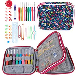 Teamoy Ergonomic Crochet Hooks Set, Knitting Needle Kit, Zipper Organizer Case With 9pcs 2mm to 6mm Soft Grip Crochets and Complete Accessories, Small Volume and Convenient to Carry, Flowers Blue