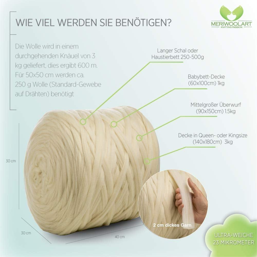 Wei/ß, 3 Kg Knäuel MeriWoolArt 100/% Merinowolle zum Stricken /& Häkeln mit 2 cm dickem Garn Decke /& Kissen Dicke Merino Wolle für XXL Schal