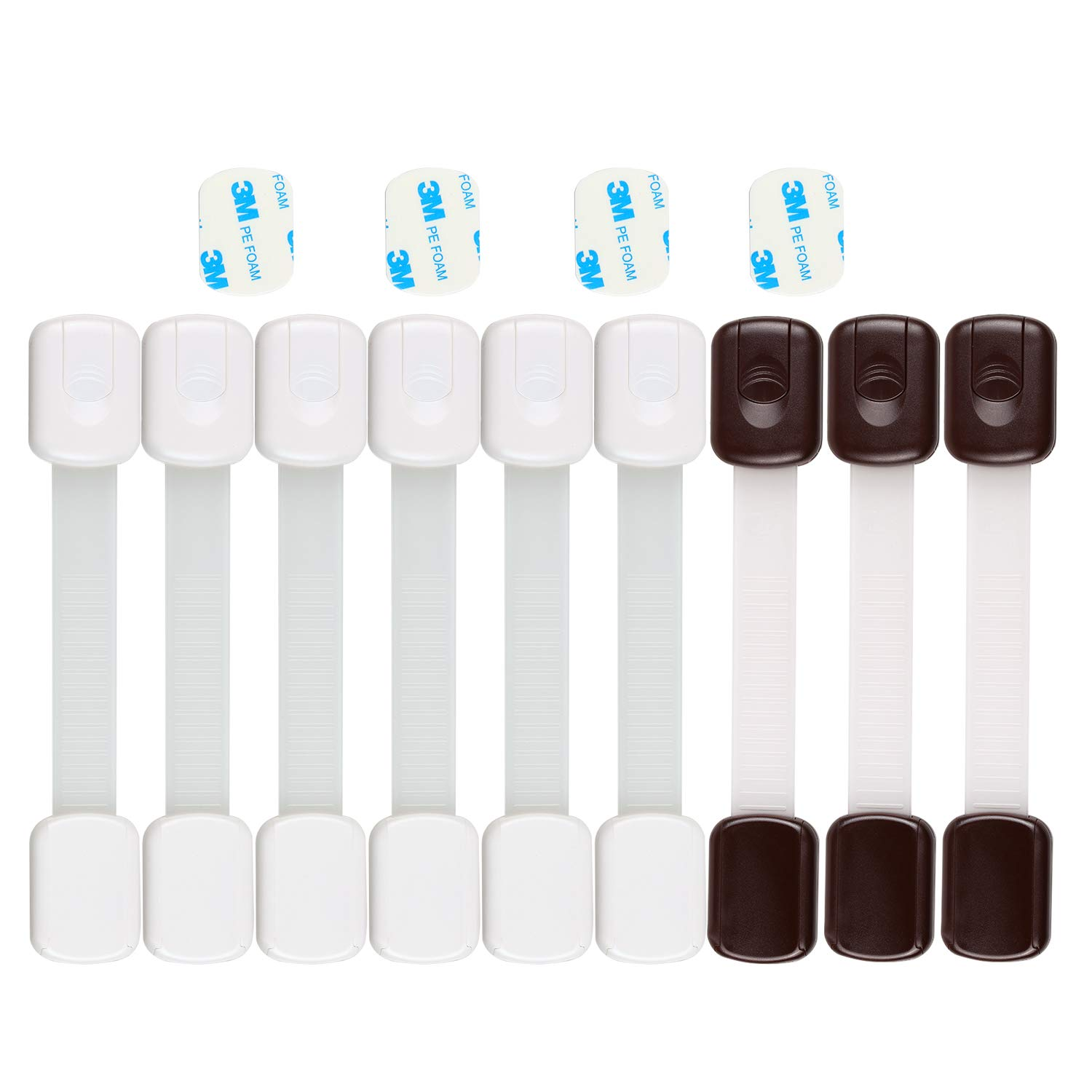 Child Safety Lock Baby Cabinet Proof Lock for Drawers Appliances Toilet Fridge, Oven 3M Adhesive No Tools Required Adjustable White and Chocolate 9 Pcs