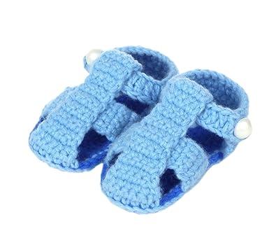 823f3632aebd3 Bigood Sandales Bébé Garçon Fille au Crochet Chaussure Souple 3-5 Mois  Bleu  Amazon.fr  Chaussures et Sacs