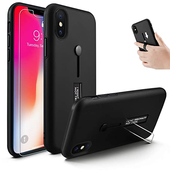 new styles 727ac 9c914 iPhone XR Case, Owrora Finger Strap Case Finger Ring Band with Kickstand  Case[with Tempered Glass Screen Protector] Rugged Case for iPhone XR ...