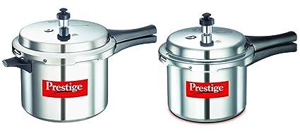 Prestige Popular Aluminium Pressure Cooker Combo Set (Pressure Cooker 5 Litres + Pressure Cooker 3 Litres), 2-Pieces