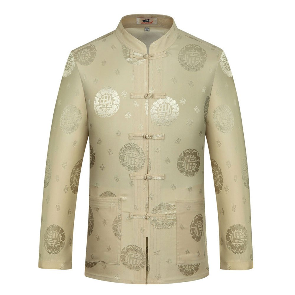 Tang Suit Men Traditional Chinese Clothing Suits Hanfu Cotton Short sleeve shirt coat Mens Tops and pants (XL, Beige) by Airuisky (Image #2)