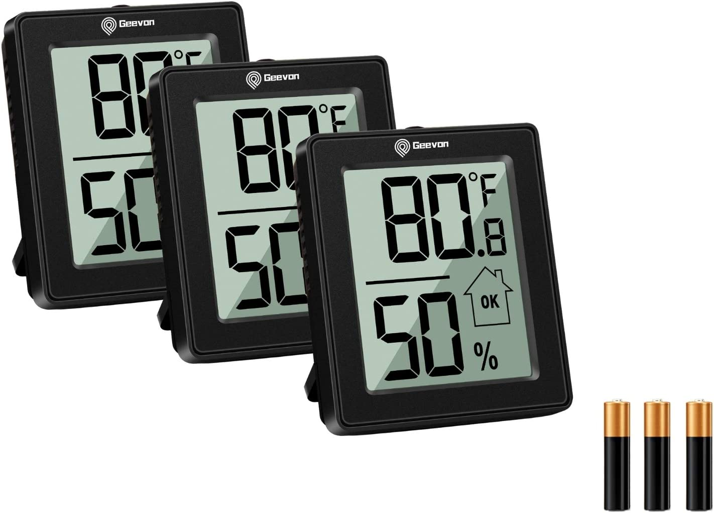 Geevon Digital Hygrometer Indoor Thermometer Room Humidity Gauge with Battery,Temperature Humidity Meter Indicator for Home, Office, Greenhouse, Mini Hygrometer,Black(3)