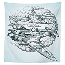 Airplane Decor Tablecloth Plane in the Sky Round Icon Vintage Plane in mid-air Military Cloud Aerospace Drawing Effect Dining Room Kitchen Rectangular Table Cover