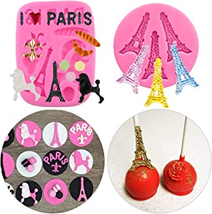 2Pcs/Set Mini Size I Love Paris Fondant Molds, Eiffel Tower Poodle Silicone Fondant Mold for Cake Cupcake Sweet Treats Decorating Sugar Craft Gum Paste Chocolate Candy Polymer Clay Resin Mold