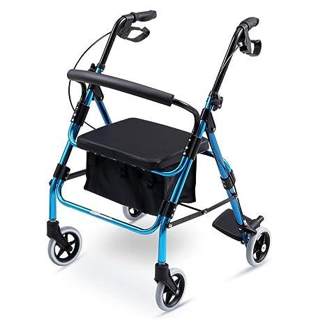 YAN-Walker Caminadora Plegable De 4 Ruedas con Asiento Acolchado, Frenos Bloqueables, Asas