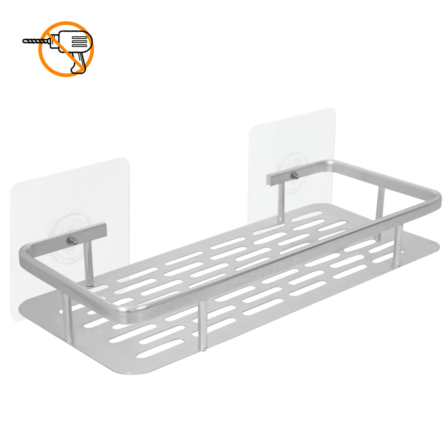 Plabingo Self Adhesive Shower Caddy Shelf,Wall Mounted Bathroom Shelf Organizer, Shampoo Conditioner Holder, for Ceramic Tile, Plastic, Glass, Metal, Wood & More,No Drilling,TZ-5091, Aluminum Alloy
