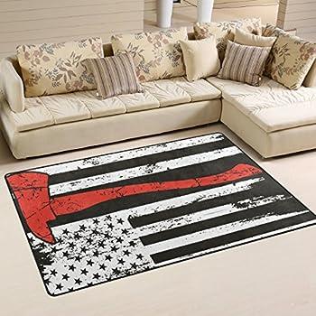 CHLBOJ American Flag Firefighter Area Rug for Living Room Bedroom 6'x4'