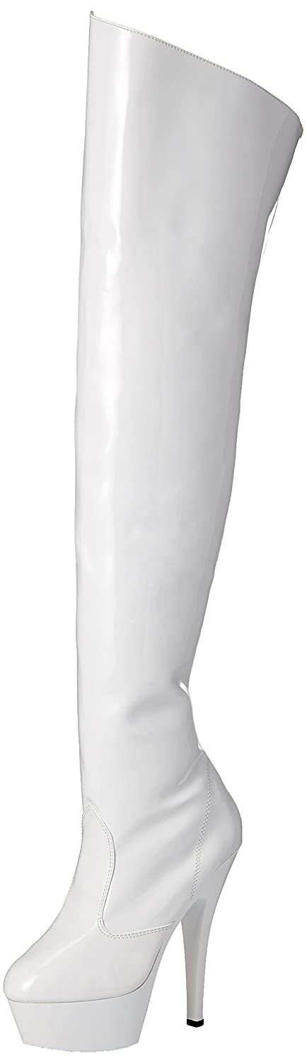 Pleaser Women's Kiss3010/with m Boot B000AD4CQA 9 B(M) US|White Patent/White