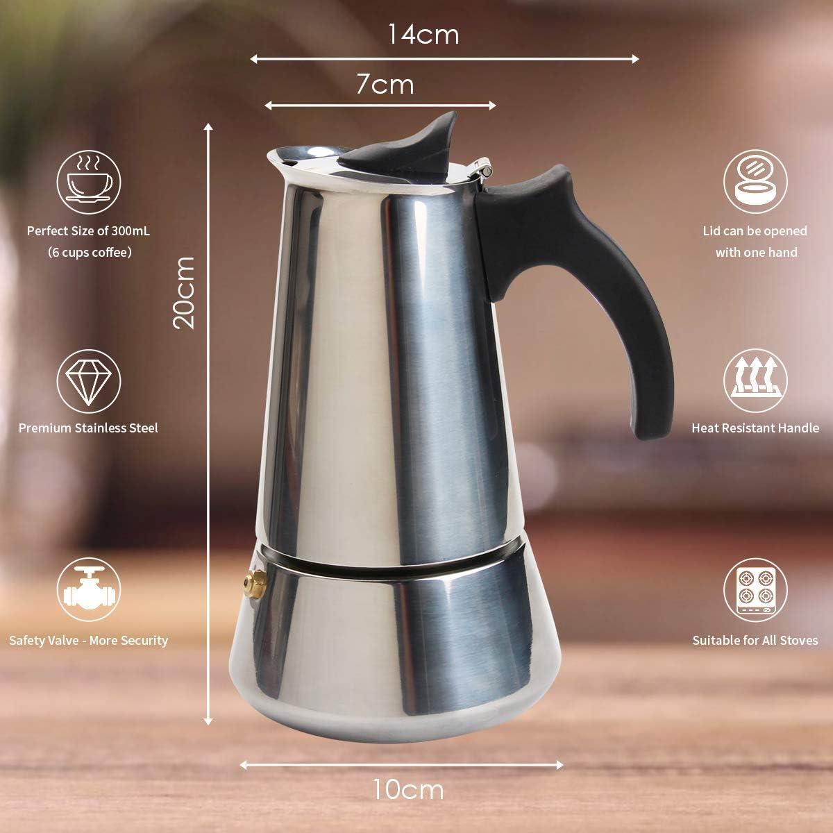 CHISTAR 300 ml cafetera para estufa cocina de espresso Cafetera de espresso apta para cocinas de inducci/ón cafetera Moka: cl/ásica cafetera de acero inoxidable 430 para 6 tazas