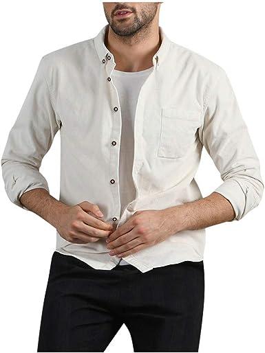 Camisa Hombre Invierno Franela, Camisa Hombre De Vestir, Camisa De Manga Larga con Bolsillo De Pana SóLida Casual De OtoñO para Hombres De Moda Blusa Superior: Amazon.es: Ropa y accesorios