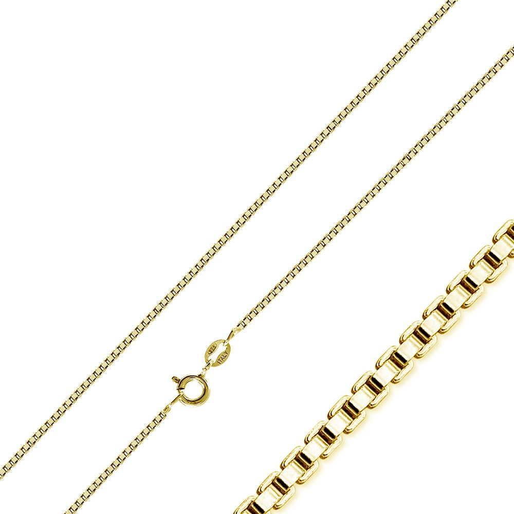 Princess Kylie Yellow Gold-Tone Plated Sterling Silver Small Box Chains 0.8mm