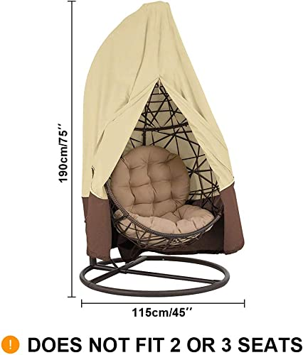 Patio Egg Chair Cover with Zipper, Buckle Drawstring, Waterproof Windproof Anti-UV Outdoor Swing Hanging Chair Cover,75x 45in Patio Egg Swing Cover