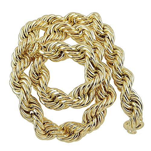Heavy 25mm Gold Plated Mens Hollow Thick Rope Dookie Chain 36