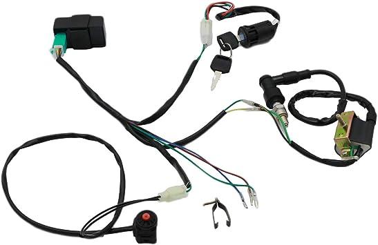 pit bike wiring harness amazon com cncmotok wiring loom harness kill switch ignition coil  cncmotok wiring loom harness