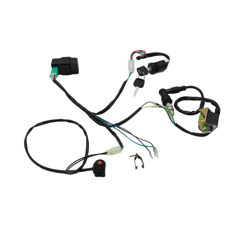 CNCMOTOK Wiring Loom Harness Kill Switch Ignition Coil Cdi Box Spark Plug Rebuild Kit for Kick Start Dirt Pit Bike ATV 50CC 70CC 90CC 110CC-160cc Buggy Go Kart Wire Harness by CNCMOTOK (Image #1)