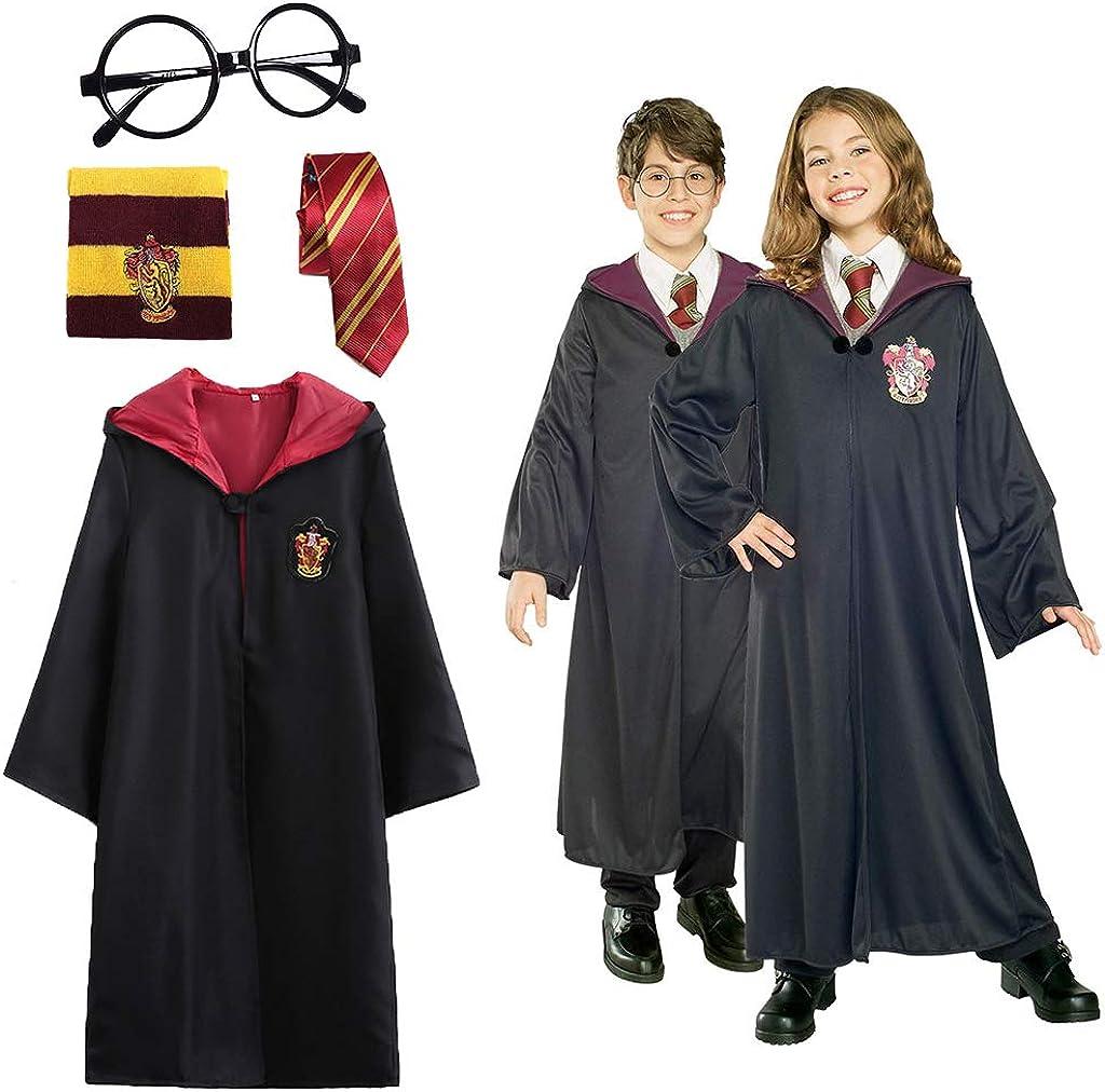 Amycute 4 Piezas Disfraz de Mago Cosplay para niños Adultos, con Capa, Corbata, Montura de Gafas para la Fiesta de Mago Disfraz Carnaval Halloween