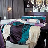 Purple and Turquoise Duvet Cover 820TC Turquoise Burgundy and Cream Damask Duvet Cover Set - Queen