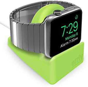 Orzly Compact Stand for Apple Watch - Nightstand Mode Compatible - RED Support Stand with integrated Cable Management Slot (38mm & 42mm & 40mm & 44mm compatible)