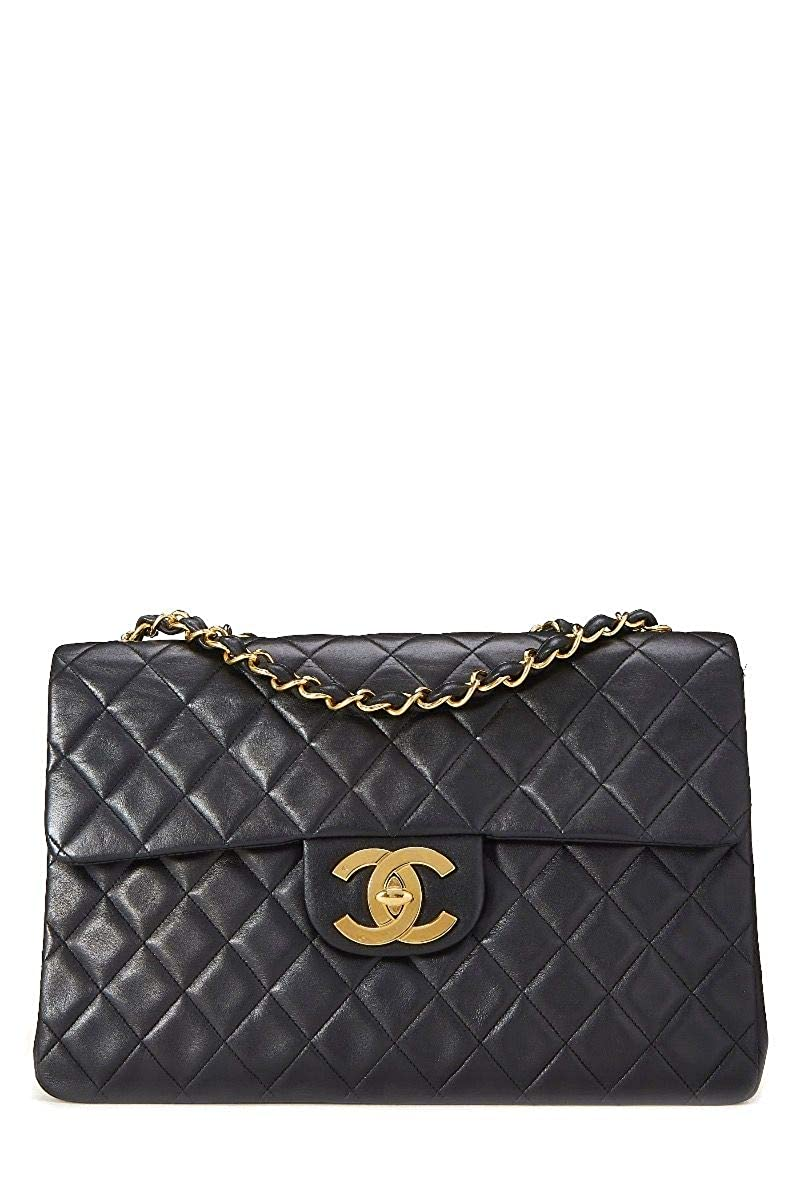CHANEL Black Quilted Lambskin Half Flap Maxi (Pre-Owned)