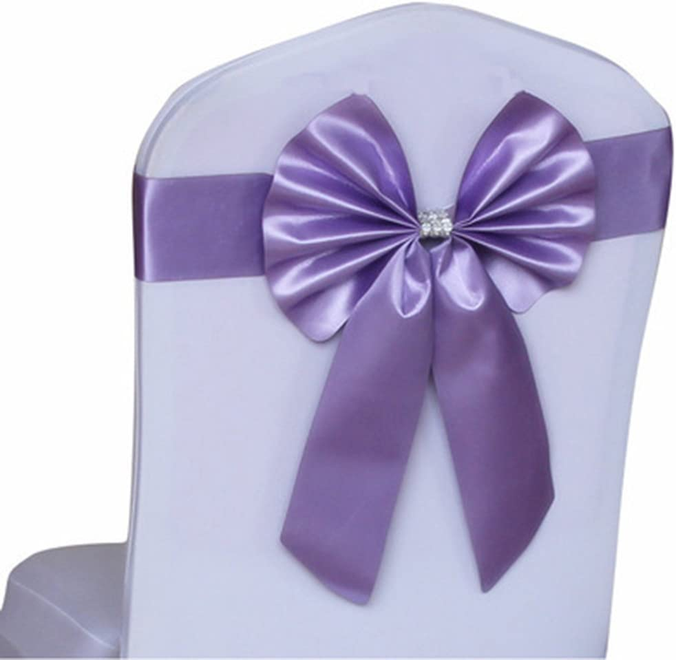 Bueer 10 pcs Chair Cover Stretch Band With Bow Tie, Spandex Chair Covers Slipcovers For Wedding Party Birthday Banquet Decor Christmas or Events Supplies Chair Decoration Chair Bow Sash (Light Purple)