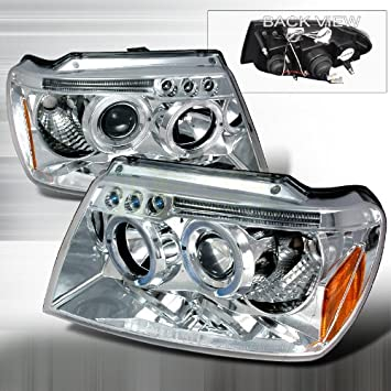 Amazon.com: 1999 2004 Jeep Grand Cherokee Halo Led Projector Headlights  Chrome: Automotive