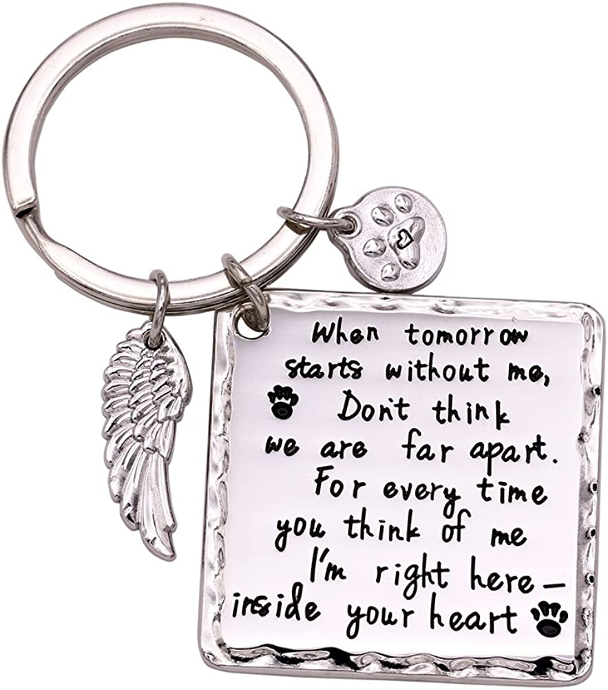 Melix Home Cat Dog Memorial Gifts Keychain Necklace Loss of Dog Gifts Pet Sympathy Gifts for Dogs Jewelry