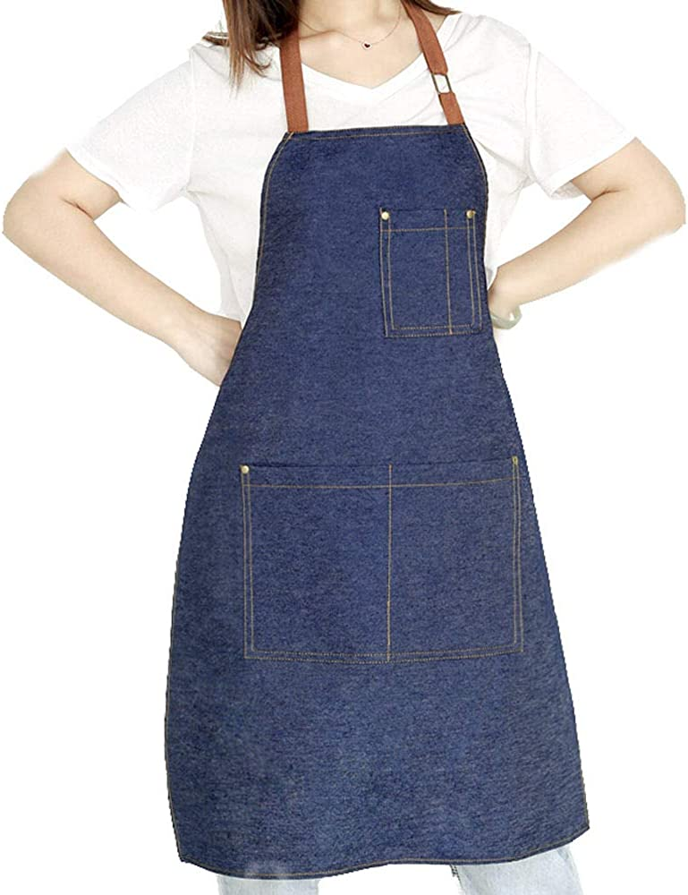 Denim Apron with Adjustable Unisex Multi-Pockets for Kitchen Crafting Cooking