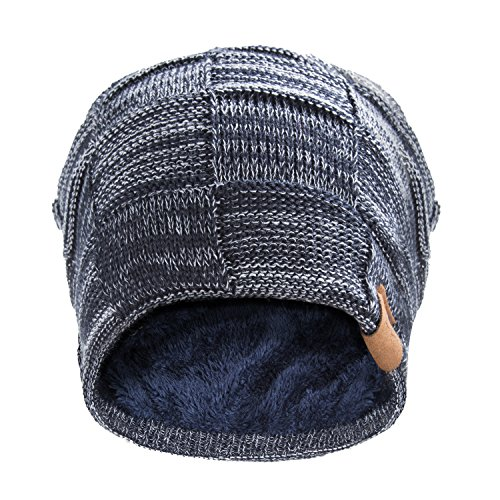 Review REDESS Beanie Hat For Men and Women Winter Warm Hats Knit Slouchy Thick Skull Cap Variegated Mix- Navy