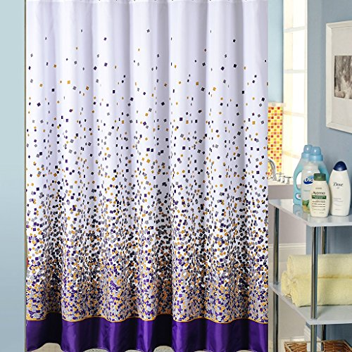 Free Curtain Patterns - Bathroom Shower Curtain Toilet Waterproof Anti-Mildew Easy to Clean Polyester Fabric Small Square Print Pattern Free Shower Curtain Hook (Size : 180x180cm)