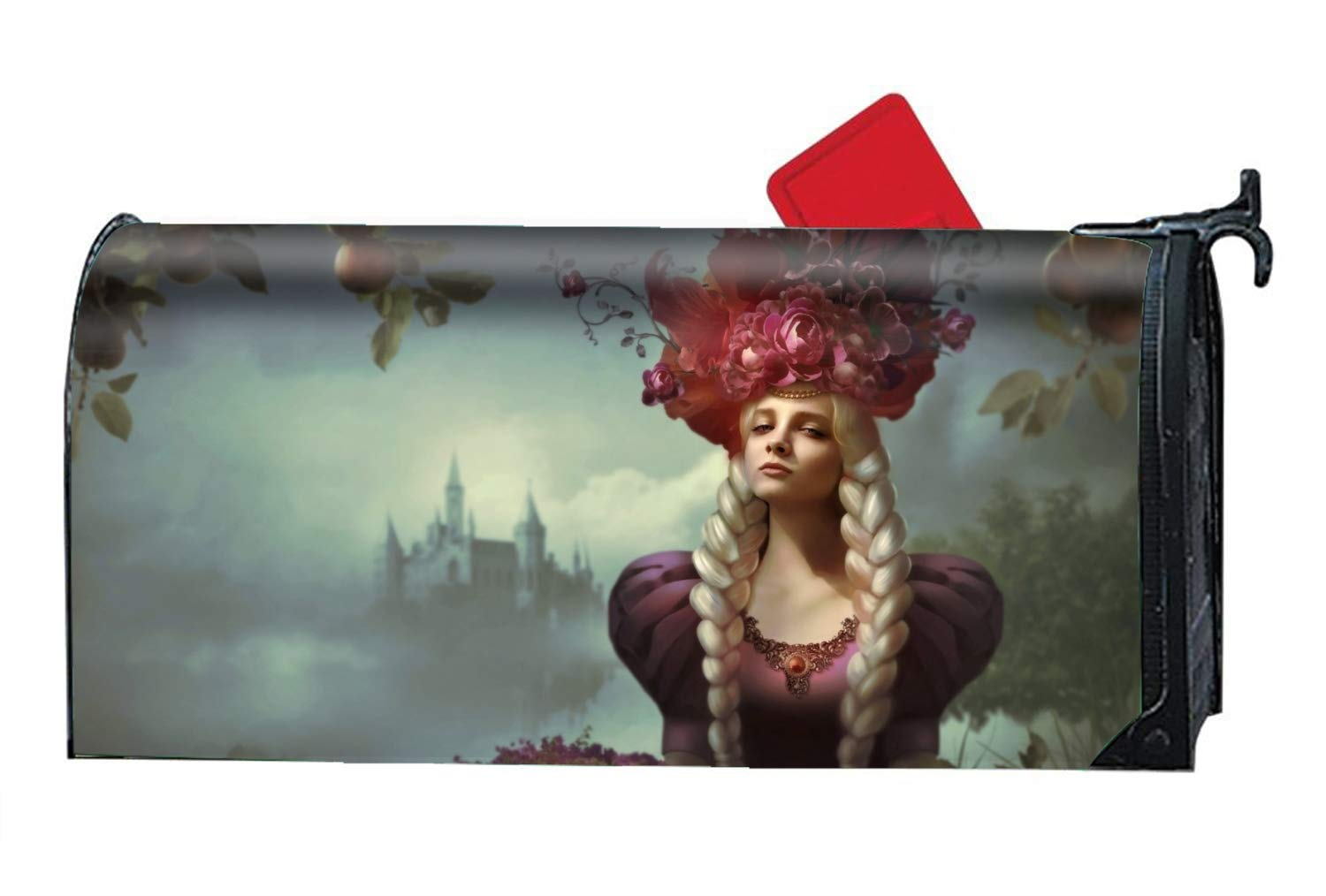 Hotspot Stylish Magnetic Large Size Mailbox Cover Fantasy Women Long Hair Girl Blonde Flower Braid Castle Mail Box Covers, Oversized