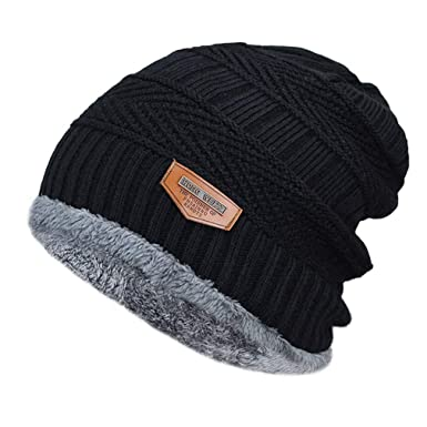 696acb3cd611 HUIBD Men s Winter Hat Knitted Black Hats Fall Hat Thick Warm Skullies Beanie  Soft Knitted Beanies