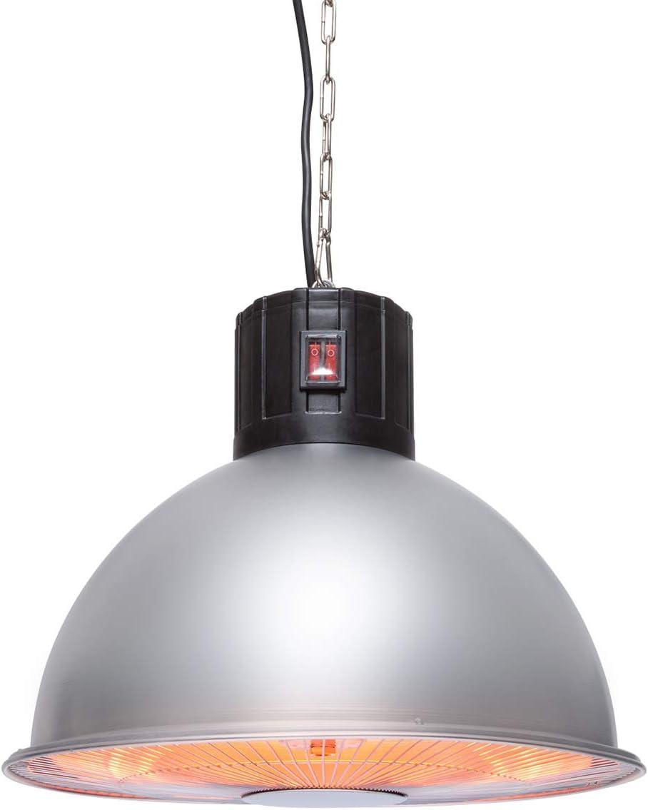 Aluminium Argent Utilisation en ext/érieur El/ément Chauffant au Carbone blumfeldt Heatbell Chauffage 2000W Radiateur Infrarouge