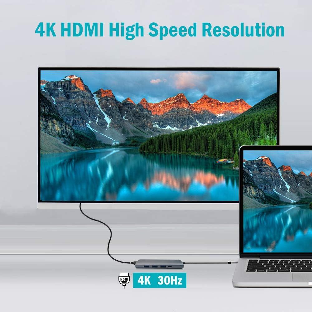 USB c hub MacBook pro2019//2018//2017 Thunderbolt Pixelbook Samsung Surface Book iPad Pro XPS Huawei USB C to HDMI Adapter 5 in 1 Type C PD Hub to HDMI 4k USB-C Adapter TypeA 3 USB 3.0 Ports Chromebook