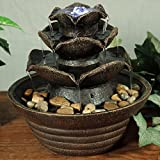 Sunnydaze Brown Three Tier Cascading Tabletop Fountain with LED Lights, 9 Inch