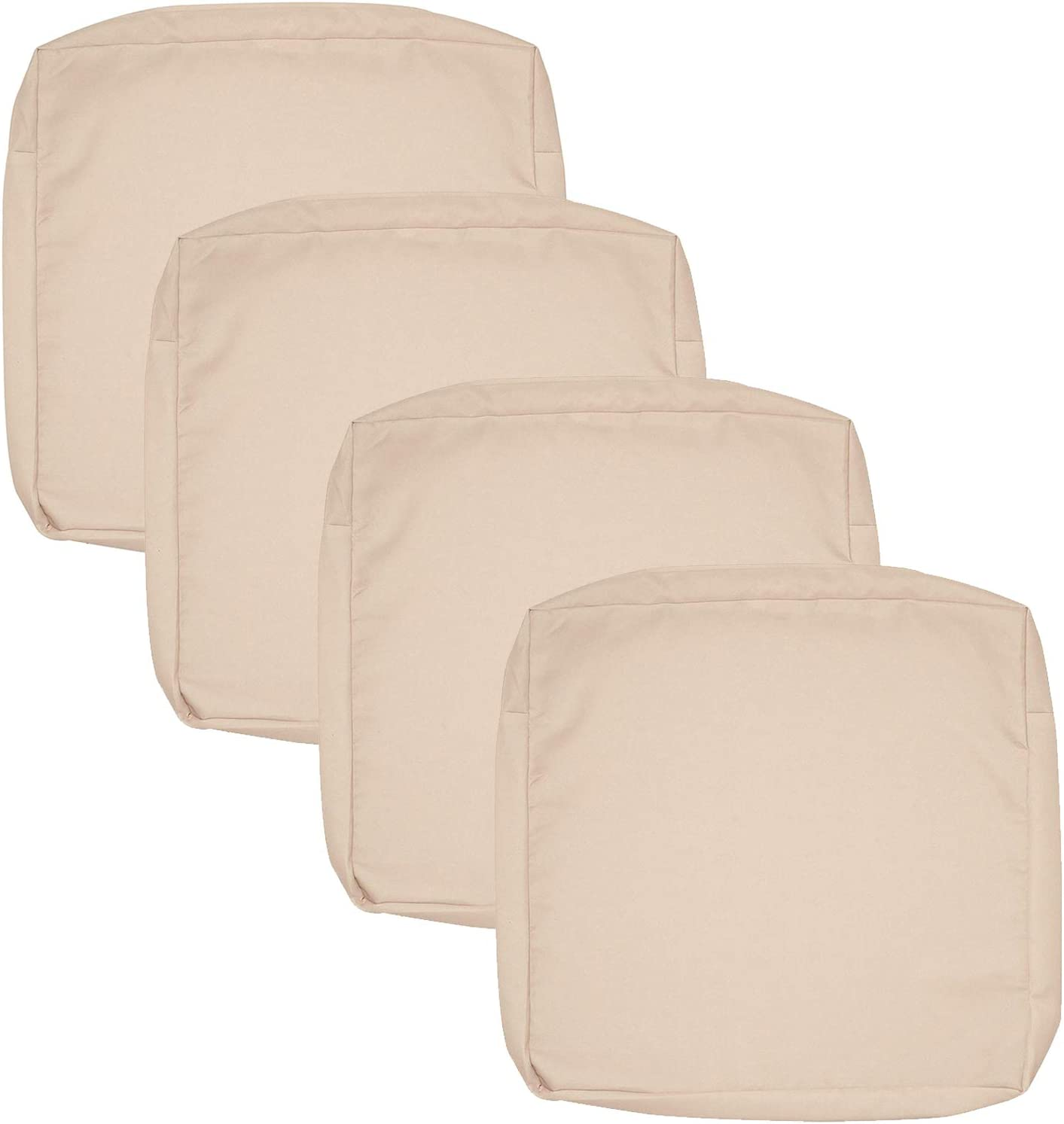 FLYMEI Outdoor Seat Cushion Cover Set, Large Patio Chair Seat Covers Only, Waterproof Patio Cushion Cover (24'' X 22'' X 4'' 4Pack, Antique Beige)