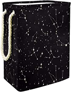 Unicey Star Constellation Pattern Large Sized Laundry Hamper Collapsible Storage Basket for Bedroom Baby Nursery