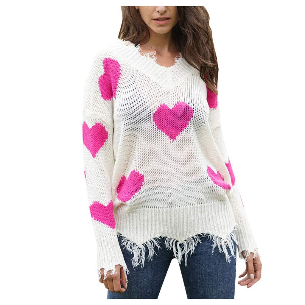 SHUSUEN Winter Sweater Women 2020 Xmas Knitted Pullover Sweater Female Print Long Sleeve Jumper Sweater Hot Pink by SHUSUEN