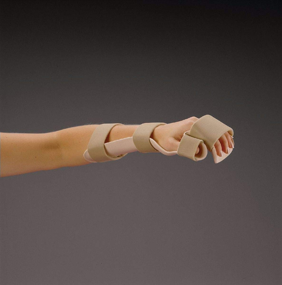 Rolyan Splinting Material, Resting Pan Mitt Splint with Strapping, Beige, Right, Large by Cedarburg