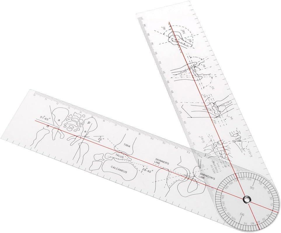 JENOR Goniómetro de ángulo Regla Médica Junta Ortopédica Herramienta Instrumentos de plástico