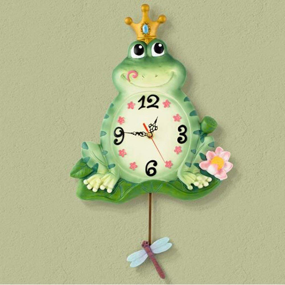 CWJ Clock- Wall Clock Metal Simple Personality Quiet 12 inch Creative Stylish Modern European-Style Children's Room Clock Resin Mute Frog Clock Wall Decoration Artwork