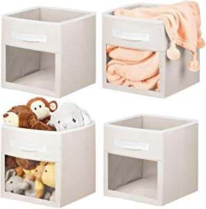 """mDesign Soft Fabric Closet Storage Organizer Cube with Front View Window Bin, Storage for Baby, Kids Room, Nursery, Toy Room, Furniture Units, 11"""" High - Cream/White - 4 Pack"""