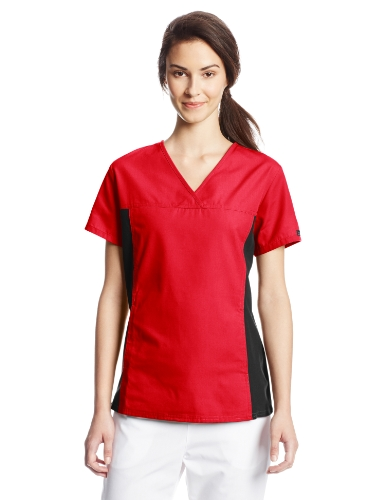 Cherokee Women's V Neck Scrubs Shirt, Red, Medium