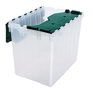 "Akro-Mils 66497CLDGN 21-1/2 x 15 x 17"" Semi Clear 18 gallon Plastic Storage Keep Box with Attached Lid"