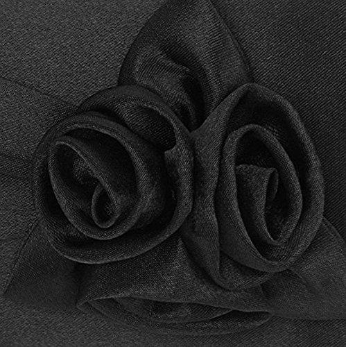 YEAH67886moda donna Lady borsetta pochette da sera con tracolla in raso rosa (nero)