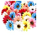 Juvale Artificial Flower Heads - 60-Pack Fake Fabric Flowers for Wedding Decorations, Baby Showers, DIY Crafts, Multiple Colors