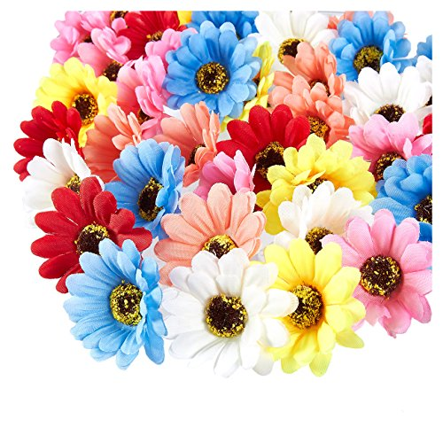 Juvale Artificial Flower Heads - 60-Pack Fake Daisy Flowers Wedding Decorations, Baby Showers, DIY Crafts, Mixed Colors, 2.1 x 2.1 x 1 inches
