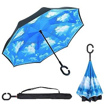 C Forma Manos libres Marcha Atrás Plegable Invertido Paraguas, Dentro Fuera A Prueba De Viento